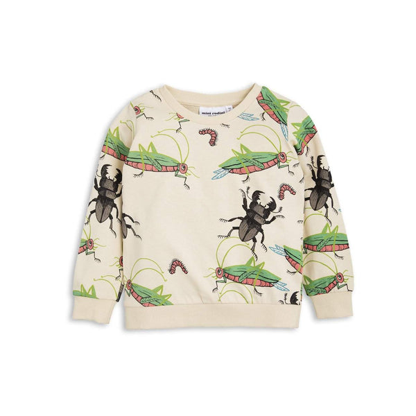 Mini Rodini Insects Beige Organic Sweatshirt | Size 1-4M Last One Afterpay