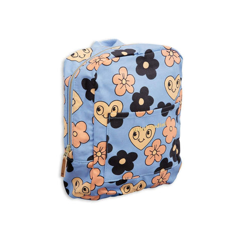 Mini Rodini Flowers Light Blue Organic Backpack
