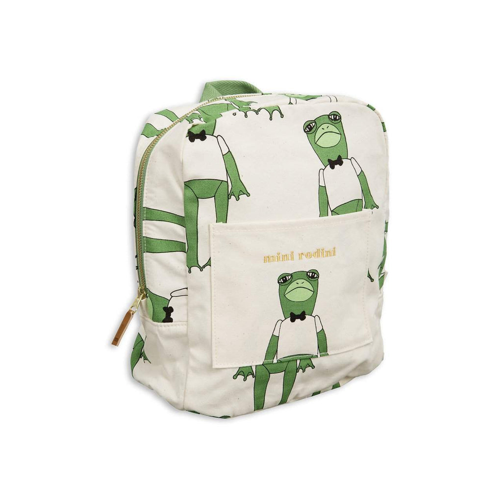 Mini Rodini Frog Green Organic Backpack Afterpay