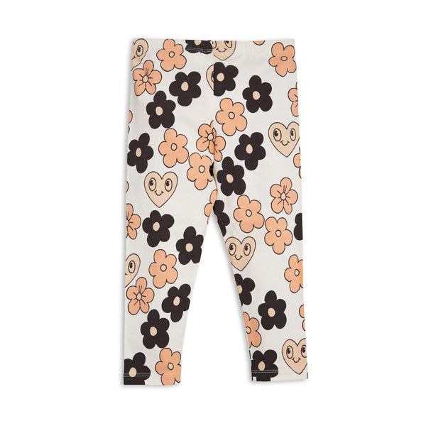 Mini Rodini Flowers Off White Organic Leggings
