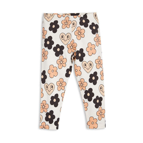 Mini Rodini Flowers Off White Organic Leggings | Last Two Afterpay