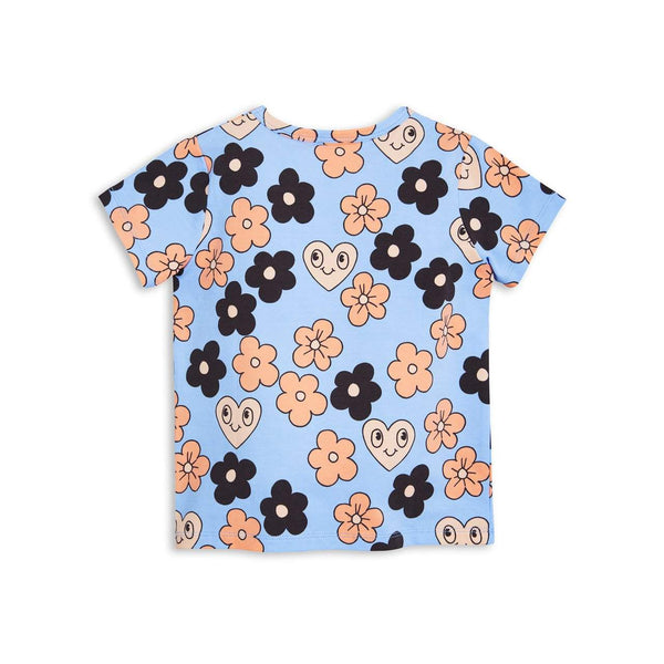 Mini Rodini Flowers Light Blue Organic SS Tee | Size 4-9M Last One Afterpay