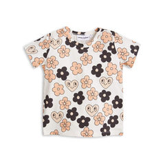 Mini Rodini Flowers Off White Organic SS Tee | Last Two Afterpay