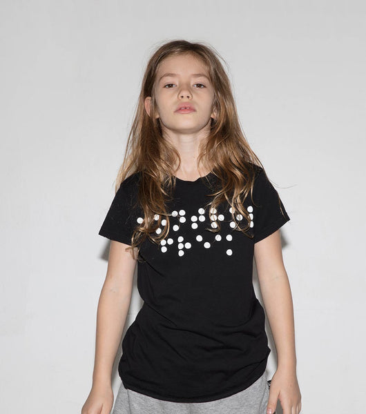 NUNUNU Black Braille Tee