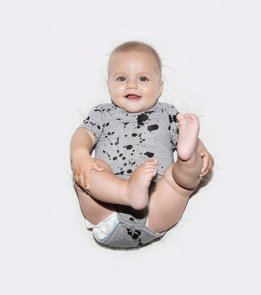 NUNUNU Grey Splash Baby Onesie Afterpay
