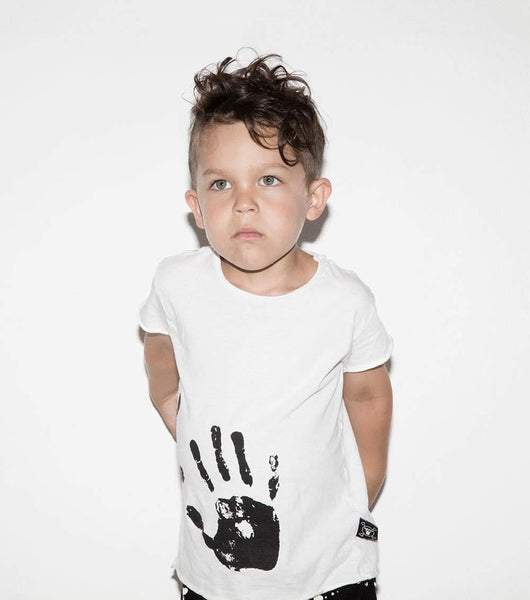 NUNUNU White Hand Print Raw Tee Afterpay