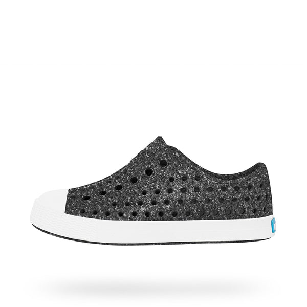 Native Shoes Jefferson Bling Child | Black Bling / Shell White | Size US 5 Last One Afterpay