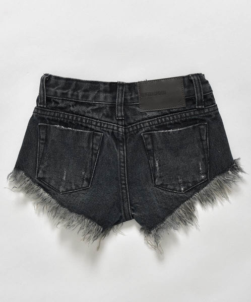 OneTeaspoon Kids Rollers Denim Short Fox Black