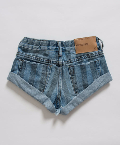 One Teaspoon Kids Zephyr Stripe Bandits Denim Short Afterpay