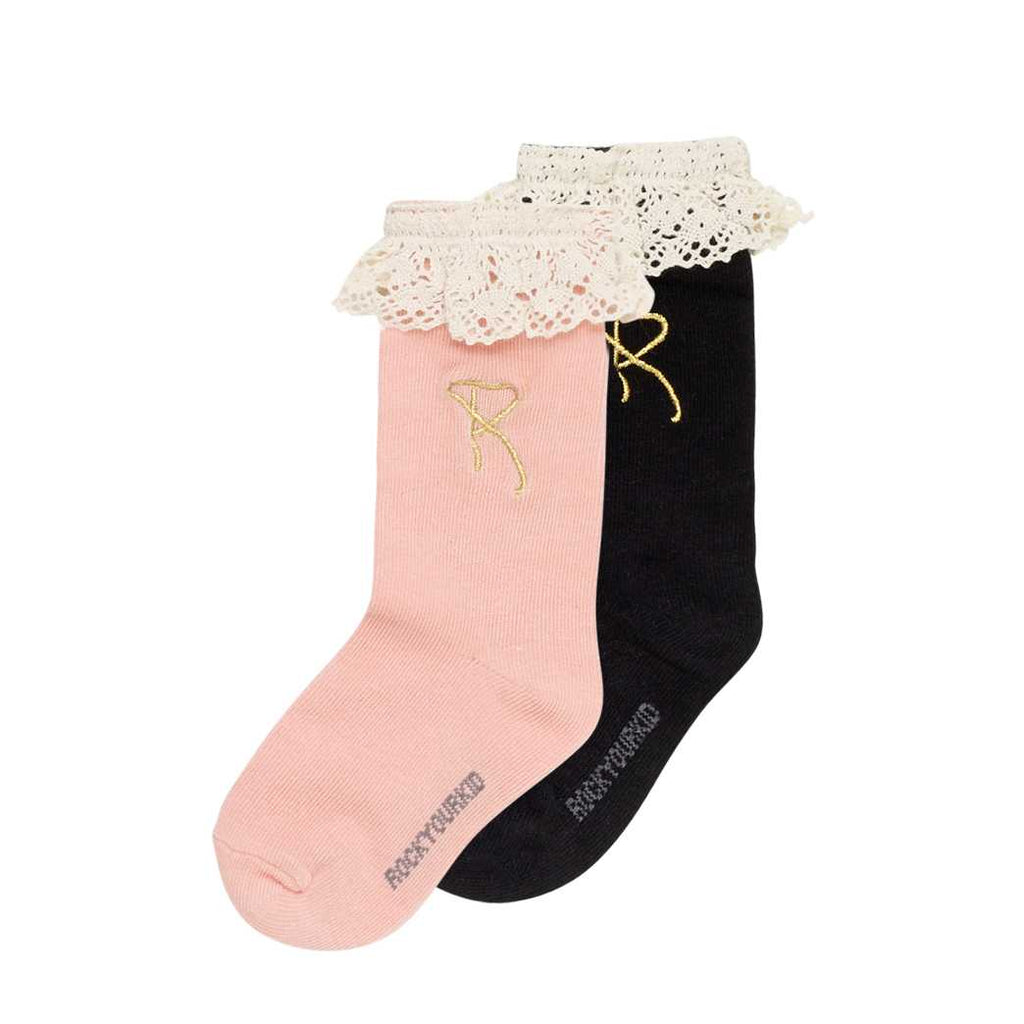 Rock Your Kid Lace Socks Pink Black
