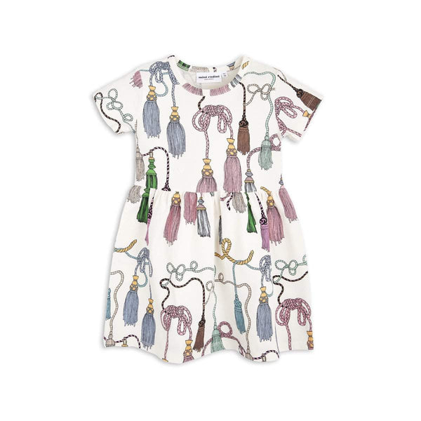 Mini Rodini Tassels Organic SS Dress | Size 5-7Y Last One Afterpay