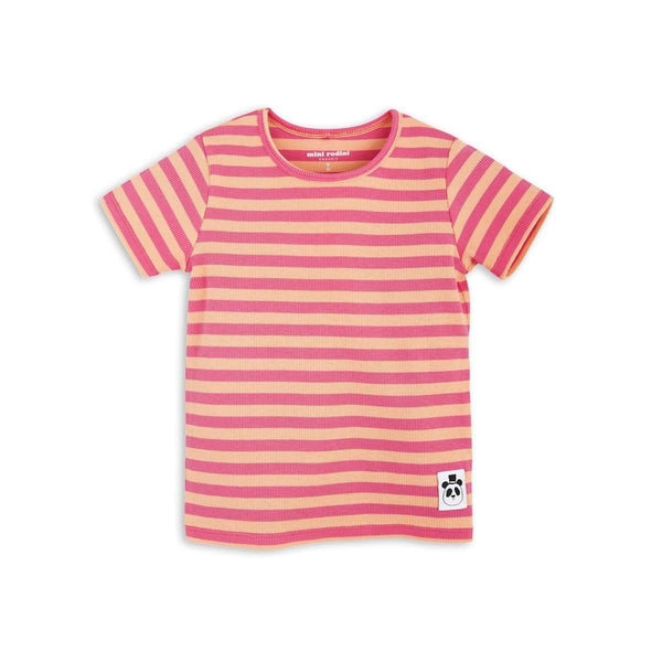 Mini Rodini Stripe Rib Pink Organic SS Tee | Last Two Afterpay