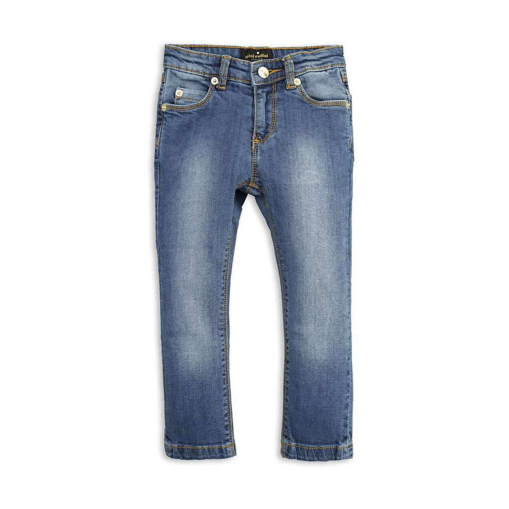 Mini Rodini Vintage Wash Organic Denim Jeans | Panther Fit Afterpay