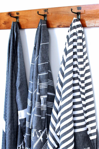 Turkish Towels WANAKA Black/White Back by Popular demand