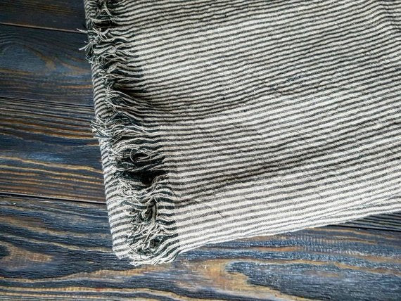 Linen Blanket Softened Black Beige Striped