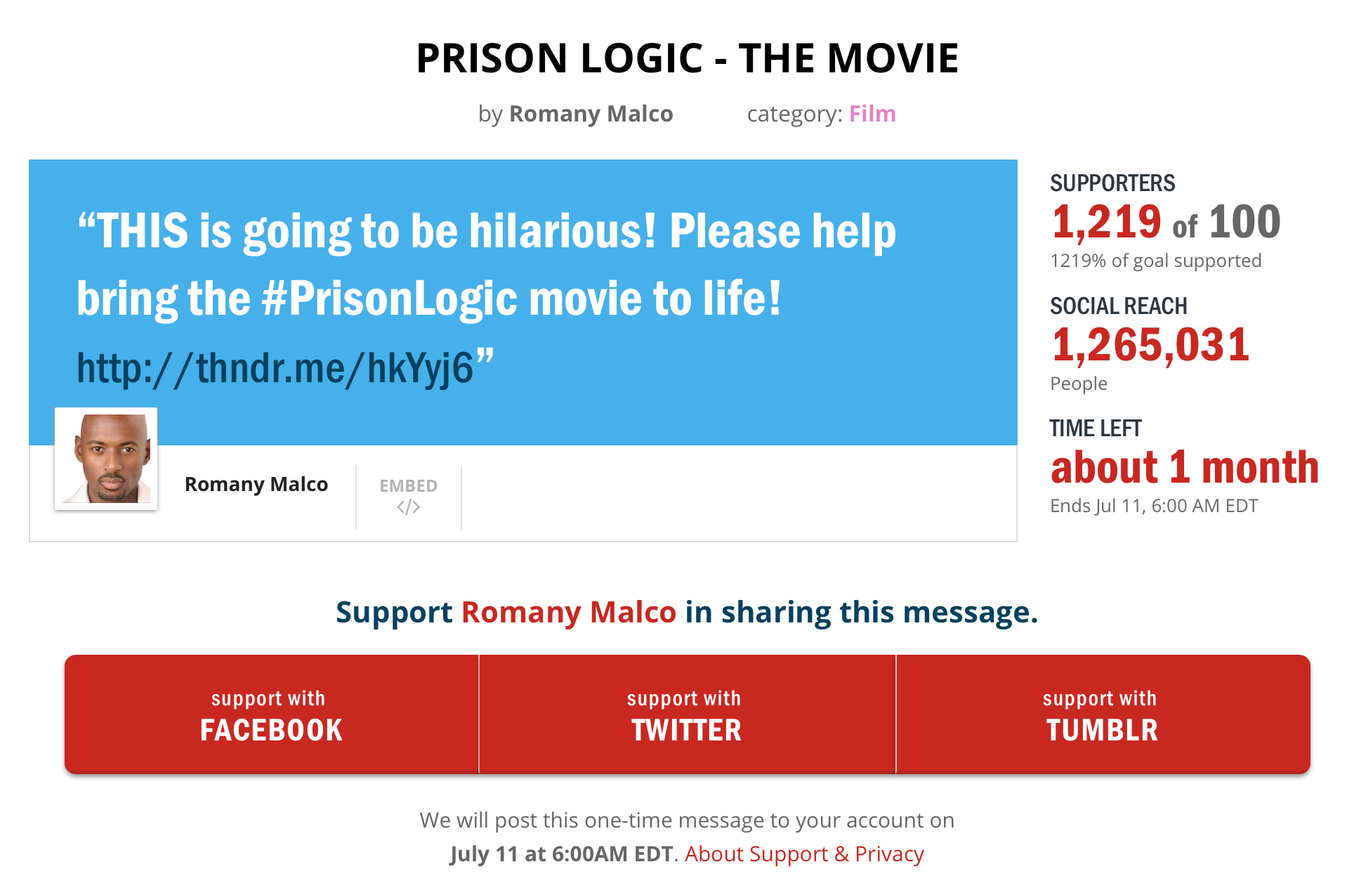 Support Prison Logic - The Movie!