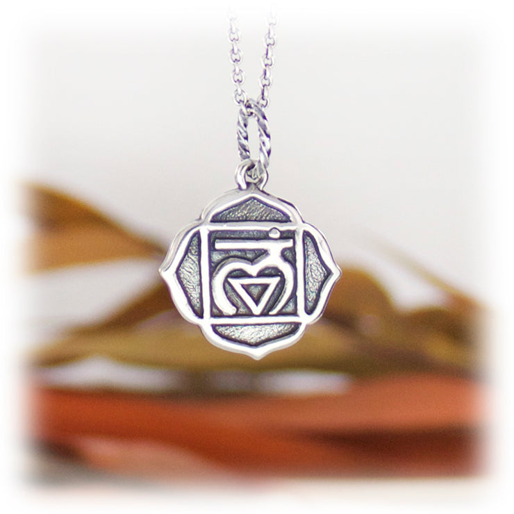1st Chakra Gemstone Pendant Hand Carved Sterling Silver
