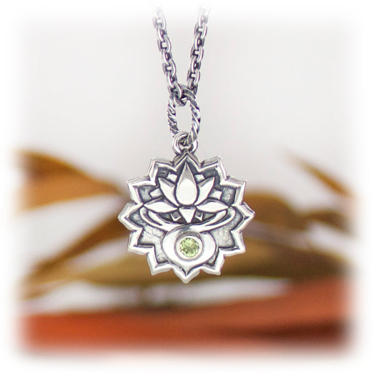 4th Chakra Gemstone Pendant Hand Carved Sterling Silver