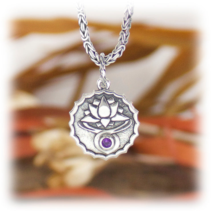 7th Chakra Gemstone Pendant Hand Carved Sterling Silver