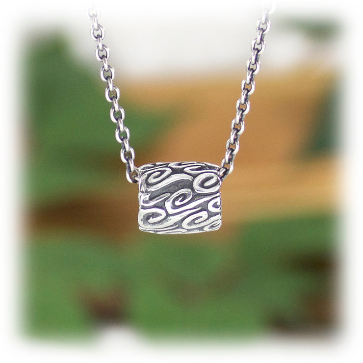 Air Elements Bead Hand Carved Sterling Silver Jewelry