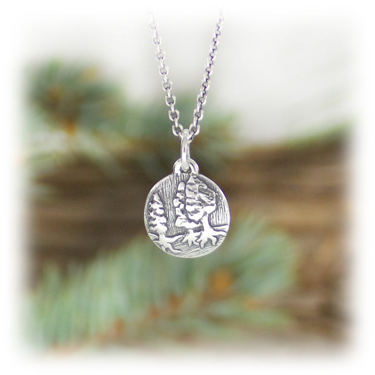 Earth Element Charm Hand Carved Sterling Silver Jewelry