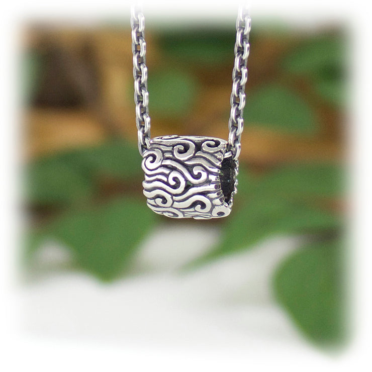 Flow Bead Hand Carved Sterling Silver Jewelry