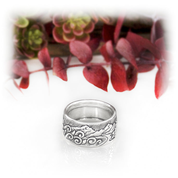 Wide Habitat Ring Hand Carved Sterling Silver Jewelry