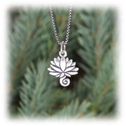 Lotus Charm Hand Carved Sterling Silver Jewelry