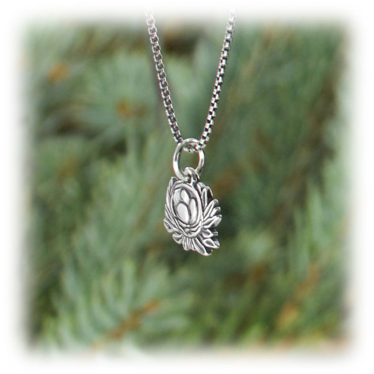 Nest Charm Hand Carved Sterling Silver Jewelry