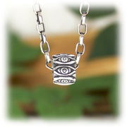 Open Shut Eye Bead Hand Carved Sterling Silver Jewelry