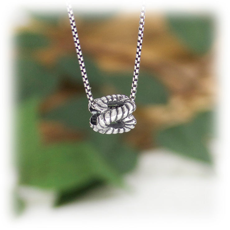 Partner Knot Bead Hand Carved Sterling Silver Jewelry