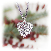 Persian Night Heart Charm Handmade Sterling Silver Jewelry