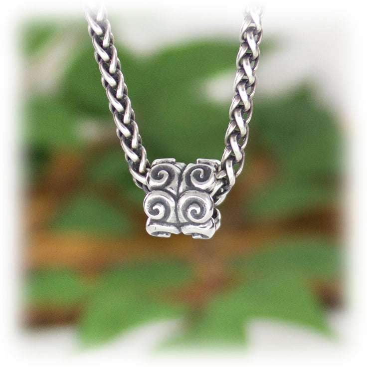 Ram Scroll Bead Hand Carved Sterling Silver Jewelry