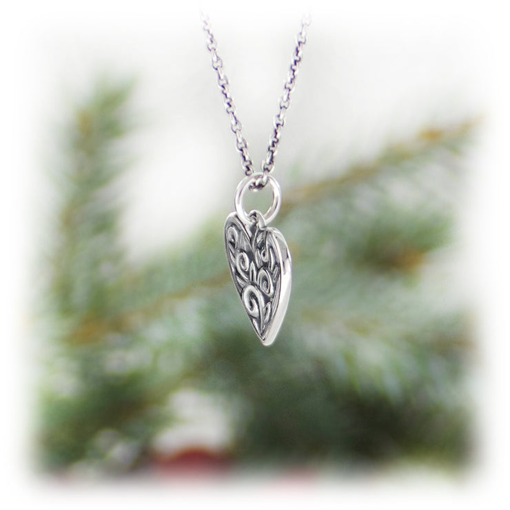 Scroll Heart Charm Handmade Sterling Silver Jewelry