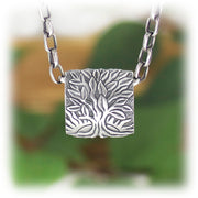 Seasons Tree Bead Hand Carved Sterling Silver Jewelry