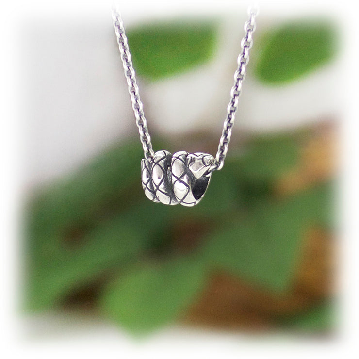 Small Snake Bead Hand Carved Sterling Silver Jewelry