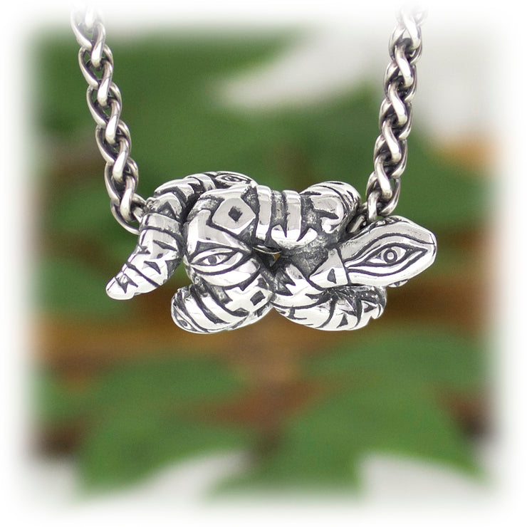 Transformation Snake Bead Hand Carved Sterling Silver Jewelry
