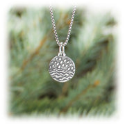 Water Element Charm Hand Carved Sterling Silver Jewelry