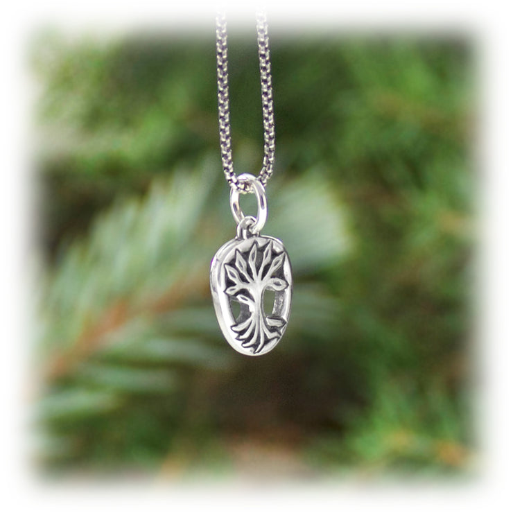 Whole Tree Charm Hand Carved Sterling Silver Jewelry