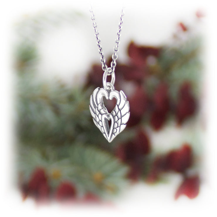 Winged Heart Charm Handmade Sterling Silver Jewelry