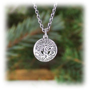 World Tree Charm Hand Carved Sterling Silver Jewelry