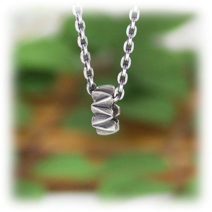 Zig Zag Bead Hand Carved Sterling Silver Jewelry