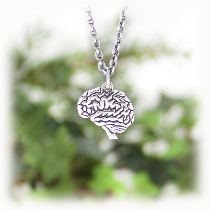 Brain Charm Hand Carved Sterling Silver Jewelry
