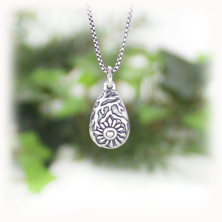 Breast Charm Hand Carved Sterling Silver Jewelry