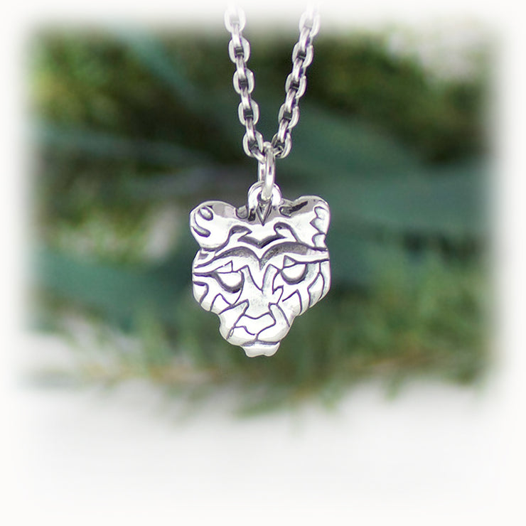 Cougar Animal Charm Hand Carved Sterling Silver Jewelry