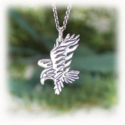 Eagle Animal Charm Hand Carved Sterling Silver Jewelry