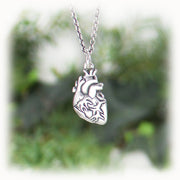 Heart Charm Hand Carved Sterling Silver Jewelry