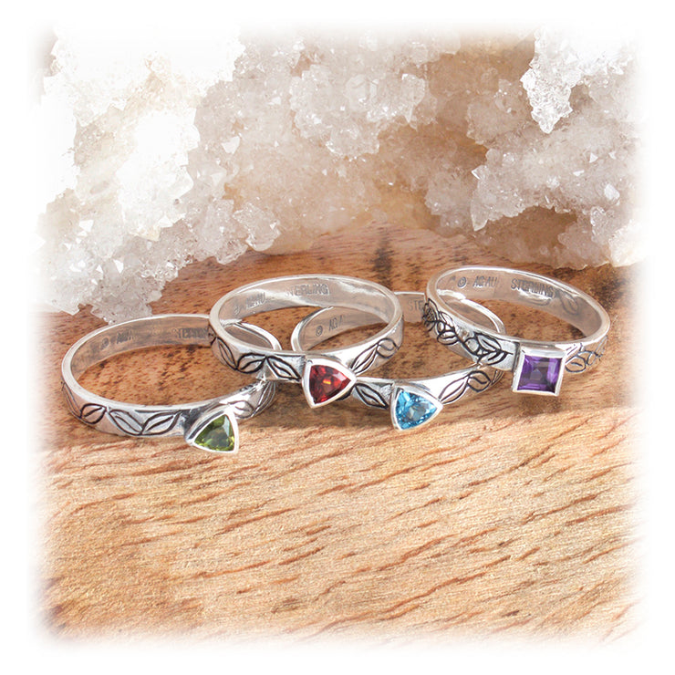Gemstone Leaf Stacking Rings
