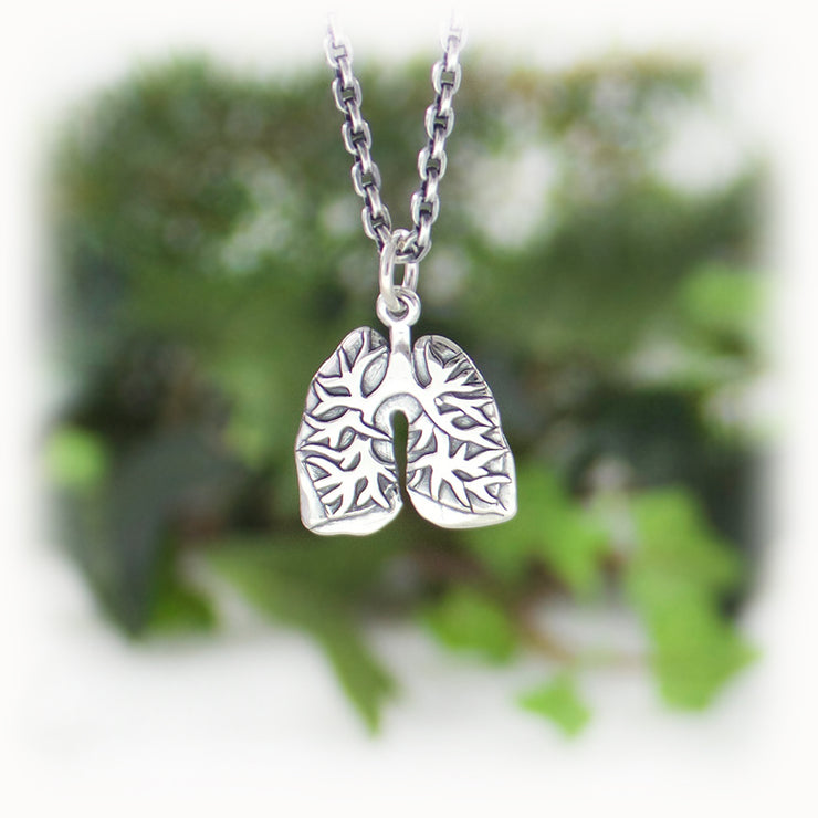 Lungs Anatomy Charm Hand Carved Sterling Silver Jewelry