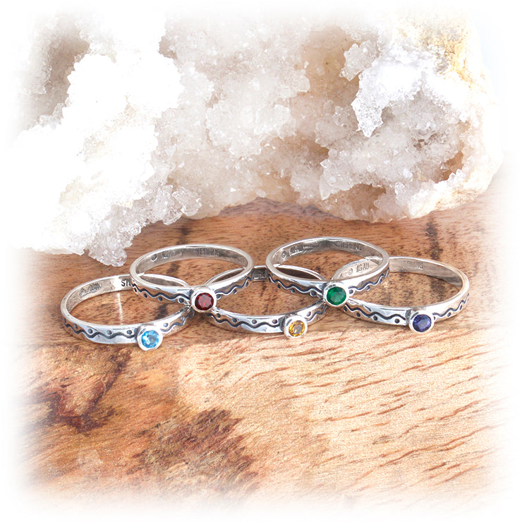 Gemstone Stacking Ring ~ Wave